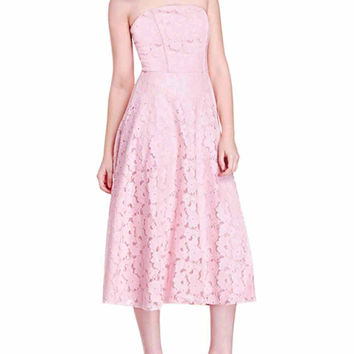 Pink Strapless Cutwork Lace Midi Skater Dress