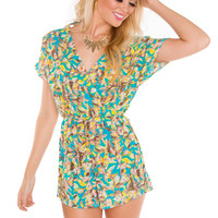 Lucia Floral Romper - Teal