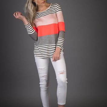 Neon Pink Striped Colorblock Top