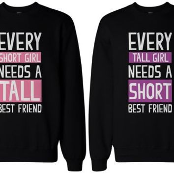 BFF Gifts - Tall and Short Best Friend Matching Sweatshirts for Best Friends