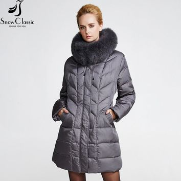 SnowClassic winter down coat jacket Plus Size women warm 2016 parka Thick long solid Real Fox Fur Collar Down coats jacket 12029
