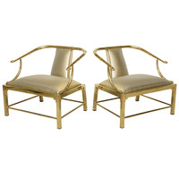 Vintage Pair of Brass Faux Bamboo Low Chairs