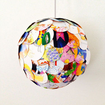 Childrens Book Page Gender Reveal Pinata Doubles as a Pendant Light - Hanging Paper Artichoke Lantern - Shade Only