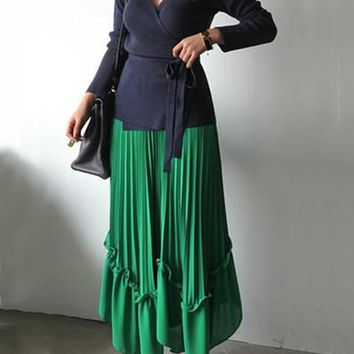 Green Ruffle Plus Size Irregular Pleated High Waisted Flowy Bohemian Party Skirt