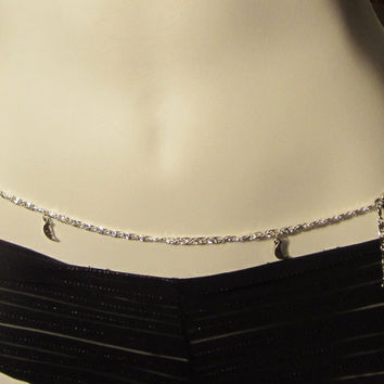 Silver Belly Chain, Belly chain with moon charms, Made to Order