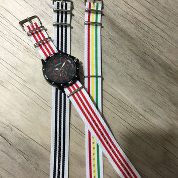 Fun Nylon Nato Style Watch Strap, 22mm Wide, Comes in White/Red, White/Red/Yellow/Green and White/Black Striped Colors