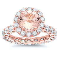 FANCY 5.54CT MORGANITE ROUND CUT 925 STERLING SILVER ENGAGEMENT RING FOR HER
