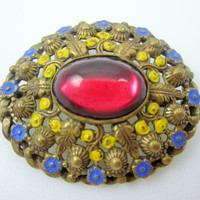Vintage Floral Pin Brass Glass Enamel C Clasp Brooch Antique Jewelry