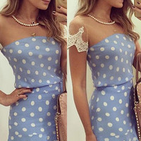 Polka Dot Sheer Mesh Lace Crochet Trimmed Dress
