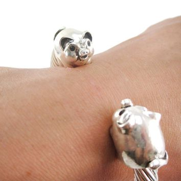 Chubby Piglet Pig Shaped Bangle Bracelet in Silver