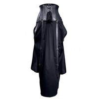 Long Black Real Leather Skirt
