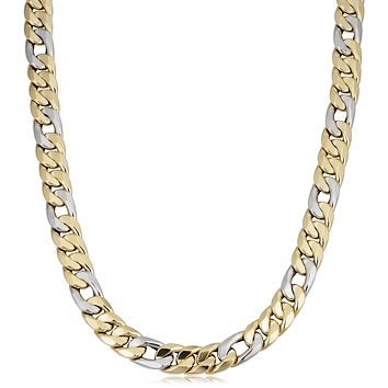 """14k Yellow And White Gold Miami Cuban Curb Hollow Link Mens Necklace, 22"""""""
