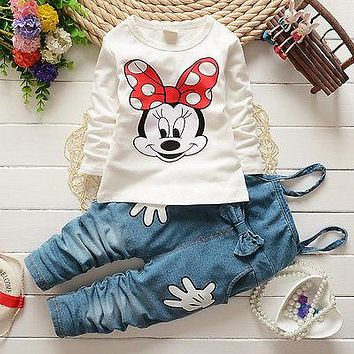 2Pcs Girls Minnie Mouse Long Sleeve Tops T-shirt Bib Denim Overall Pants Outfits Set Costume 1-5Y