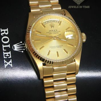 Rolex Day-Date President 18k Yellow Gold Tapestry Dial Mens Watch 18038