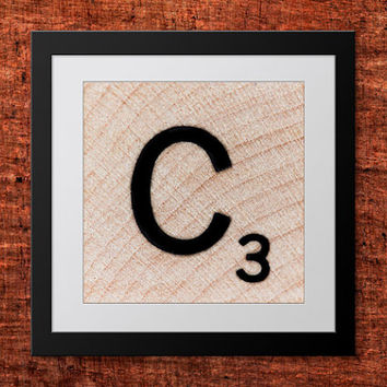 DIY Wall Art, Letter C-Personalized Word Art, Instant Download, Printable Letter, Scrabble Wall Art, Alphabet Art, Downloadable Image, Print