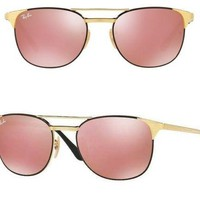 NEW Rayban Signet Sunglasses RB3429M 9000Z2 55 Black Gold Copper Flash Pink 3429