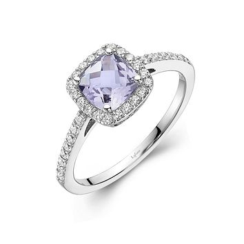 Lafonn Aria Sterling Silver Platinum Plated Lassire Amethyst and Simulated Diamonds Womens Ring