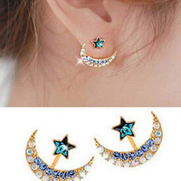 gold color blue crystal rhinestone star and moon earrings pentacle pendant stud earrings for women Jewelry