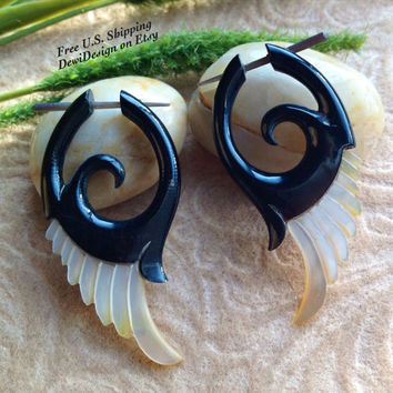 "Stick Post Earrings, ""Flight In The Night"" Naturally Organic, Mother Of Pearl and Horn, Hand Carved, Tribal"