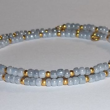 Grey & Gold Glass Beaded Artisan Crafted Stackable Wrap Bracelet (S-M)