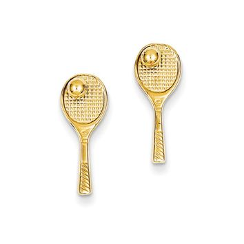 Polished Tennis Racquet and Ball Post Earrings in 14k Yellow Gold