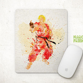 Ken Masters Mouse Pad, Street Fighter Watercolor Art, Mousepad, Office Deco, Gifts, Art Print, Games, Desk Decor, Street Fighter Accessories