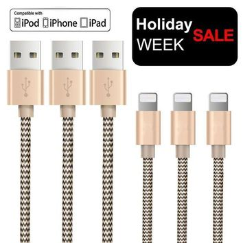 DCCK2JE OTISA 3Pack 5Ft Nylon Braided Lightning Cable with Ultra-compact Connector Charging Cord Charger for iPhone 7/7 Plus/6s/6s Plus/6/6 Plus/5s/55se, iPad,iPod Compatible with iOS10