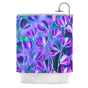 "Ebi Emporium ""Efflorescence - Lavender Blue"" Teal Purple Shower Curtain"