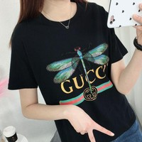 GUCCI 2018 New Summer Embroidery Print Cotton Stretch Short Sleeve Black