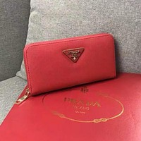 PRADA Women Leather Zipper Wallet
