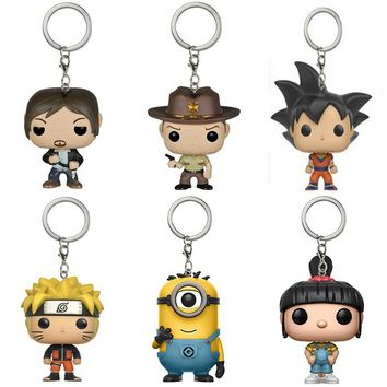 Dragon Ball Z Goku Super Saiyan Vegeta the walking dead keychain Rick Grimes Daryl Dixon Minions action figure toys