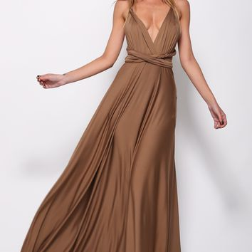 Drinking Vino Maxi Dress Chocolate