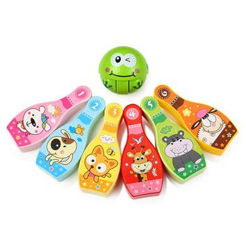 Family Friends party Board game Cartoon Animal 7 Piece Bowling Set w/ 6 Pins 1 Bowling Balls Tumbler Children Kids Educational Toy Outdoor Party Fun Family Game AT_41_3