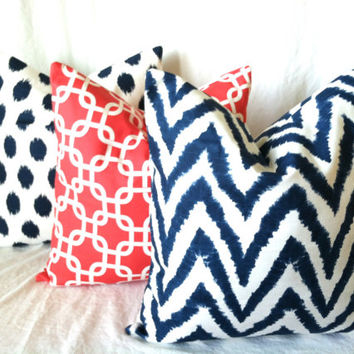 Navy Coral Pillow Covers - 20 x 20, Set of Three, Navy Chevron Coral Geometric Modern Cushion Covers, Ikat Dot Pillow, Cushions, Pillow Set