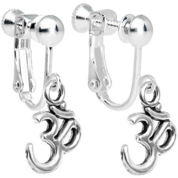 Spiritually Uplifting Ohm Clip On Earrings