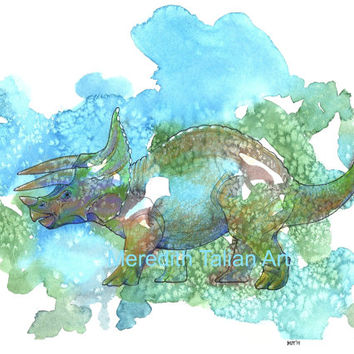 Dinosaur Triceratops Watercolor Art Print Painting Boys Room Decor Nursery Theme Green Blue Dino For Him Original 8x10 children bedroom wall
