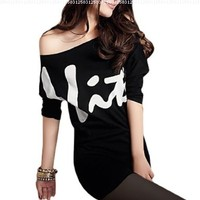 Allegra K Women Off Shoulder Batwing Sleeves Letters Prints Slim Tunic Shirt