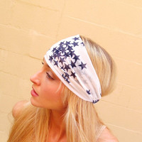 Blue Star Ivory Chiffon Hair Wrap by JLeeJewels on Etsy