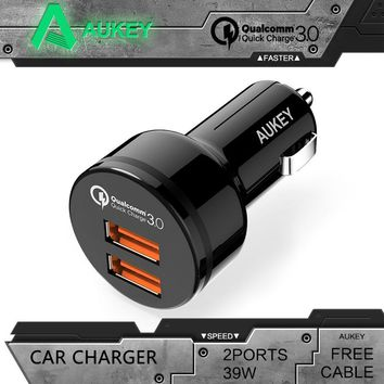 AUKEY Universal Car Charger for Qualcomm Quick Charge 3.0 2 Port Support QC3.0 36W USB Car Charger For Samgsung Xiaomi iPhone LG