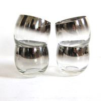 Vintage set of 4 roly poly tumblers glasses. silver rim cocktail party cups. tinted silver glasses // ombre barware
