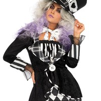 Leg Avenue Female 3PC.Wonderland Mad Hatter Costume 86676