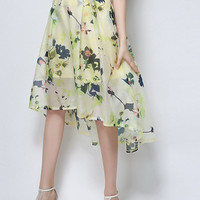 Yellow Floral Leaves Print High Waisted Asymmetric Hem Midi Skirt