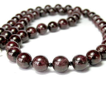 Mens Garnet Necklace, Beaded Necklace, Mens Silver Necklace, Gemstone Necklace, Beaded Jewellery