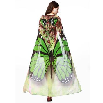 Green Mesh Butterfly Hooded Cape Robe Cosplay Dance Costume Rave Wear Halloween