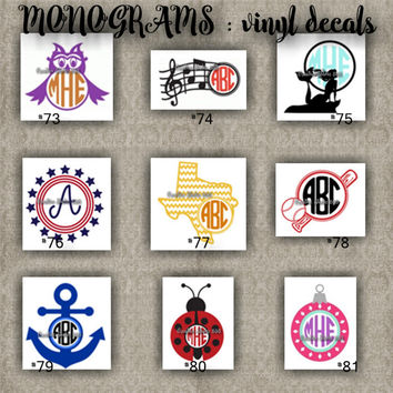 MONOGRAM vinyl decals | name | initial | decal | sticker | car decals | car stickers | laptop sticker - 73-81