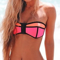 Strawberry Kiss Pink Orange Black Colorblock Strapless Bandeau Hipster Two Piece Bikini Swimsuit