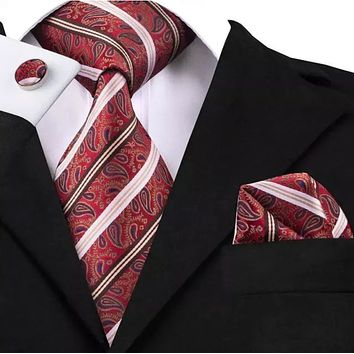 Men's Silk Coordinated Tie Set - Paisley Striped Red Pink