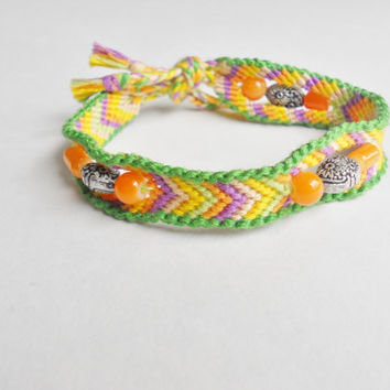 Handmade Bracelet - Colorful Chevron Pattern with Orange and Silver Beads