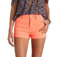 "Refuge ""Hi-Rise Shortie"" High-Waisted Shorts - Neon Coral"