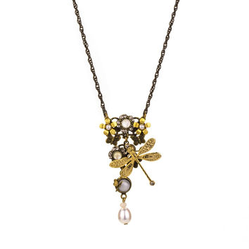 Dragonfly and Pearl Necklace by Eric et Lydie